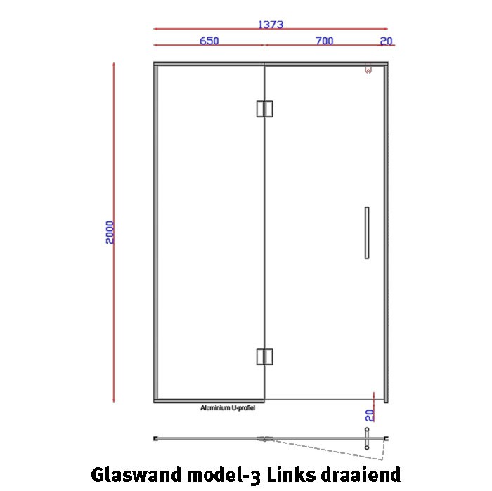 Glaswand model 3