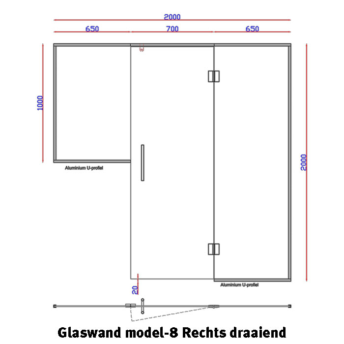 Glaswand model 8