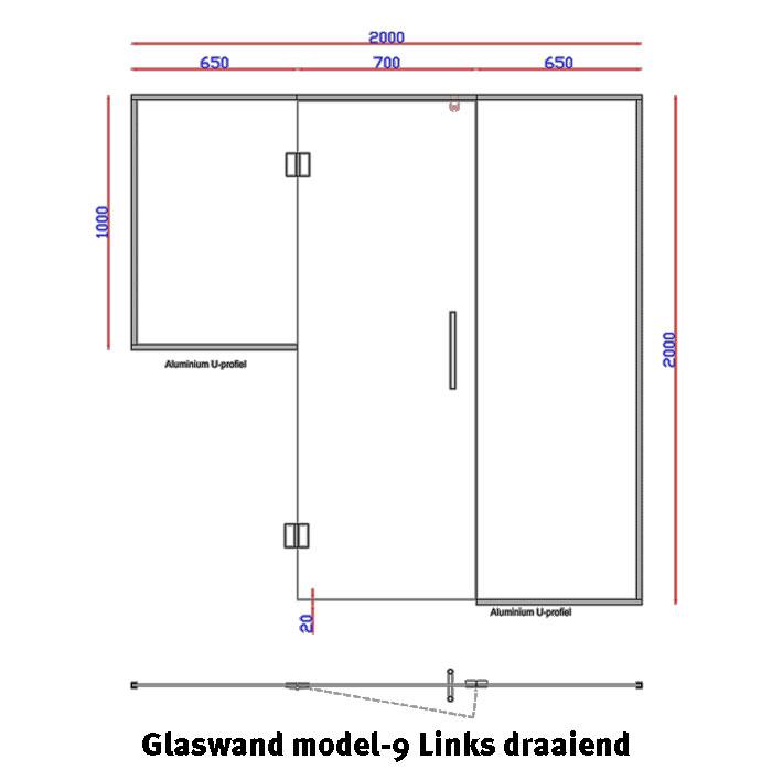 Glaswand model 9