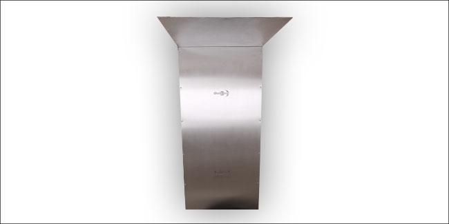 RVS achterplaat met plafondstuk